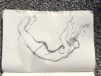Drawing - Ballerina Bending Backwards From Her Knees by Elizabeth Parashis