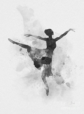 Mixed Media - Ballerina Black And White by Rebecca Jenkins