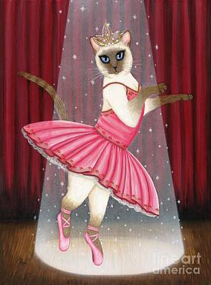 Painting - Ballerina Cat - Dancing Siamese Cat by Carrie Hawks