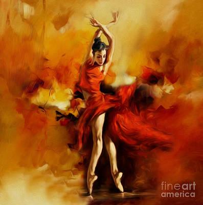 Woman Painting - Ballerina Dance 015 by Gull G