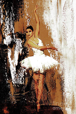Swan Lake Painting - Ballerina Dance 093 by Gull G