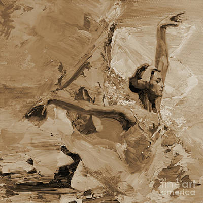 Ballerina Artwork Painting - Ballerina Dance 1102a32 by Gull G