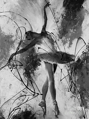 Painting - Ballerina Dance Black And White  by Gull G