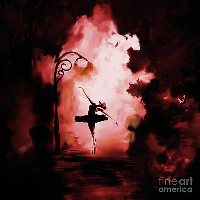 Belly Dancing Painting - Ballerina Dance In The Dark Night  by Gull G