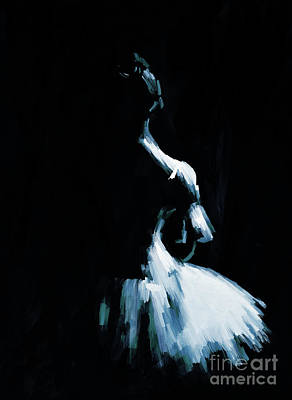 Black And White Painting - Ballerina Dance Jk87 by Gull G