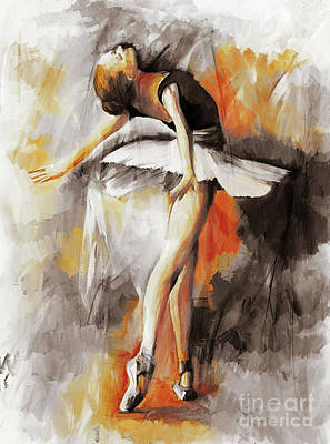 Ballerina Artwork Painting - Ballerina Dancing Art 88801 by Gull G