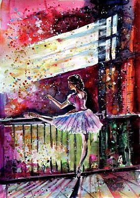 Painting - Ballerina Dancing by Kovacs Anna Brigitta