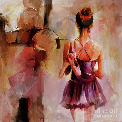 Swan Lake Painting - Ballerina Girl Holding Shoes  by Gull G