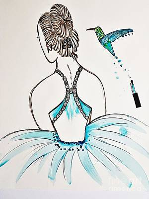 Painting - Ballerina  Hummingbird Love by Jasna Gopic