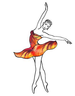 Painting - Ballerina In Fire Petals Dress by Irina Sztukowski