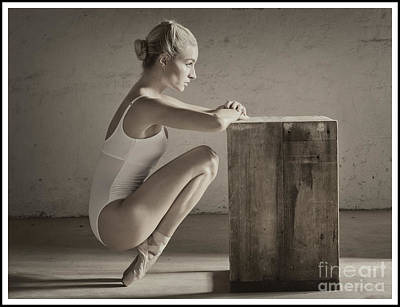 Photograph - Ballerina In Pointe Shoes Stretching by Michael Edwards