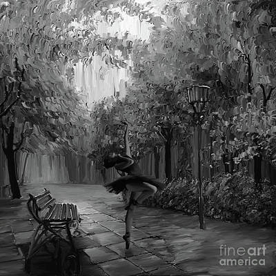 Ballerina Artwork Painting - Ballerina In The Park 01 by Gull G