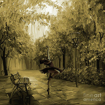Ballerina Artwork Painting - Ballerina In The Park 02 by Gull G