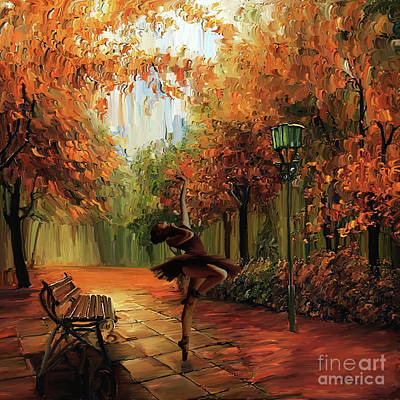 Ballerina Artwork Painting - Ballerina In The Park  by Gull G