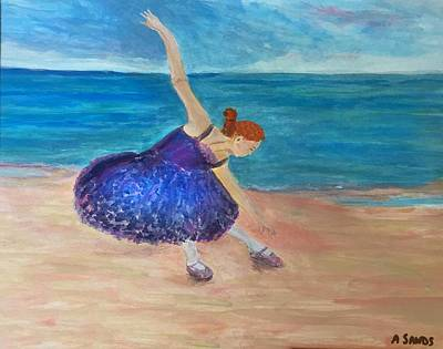 Painting - Ballerina On The Beach by Anne Sands