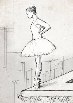Rooftops Drawing - Ballerina On The Cornice by H James Hoff