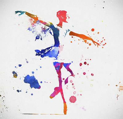 Ballerina Paint Splatter Art Print