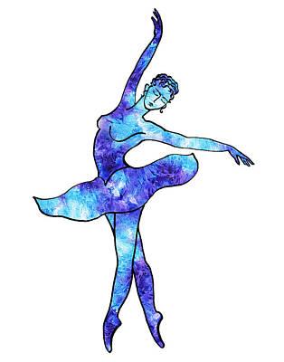 Painting - Ballerina Silhouette Blue Frost Dance by Irina Sztukowski