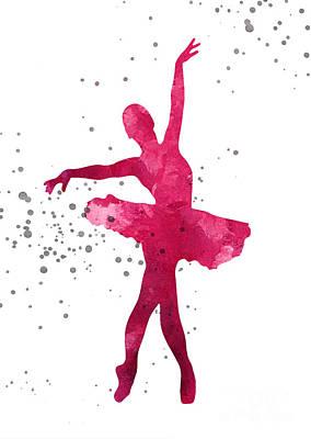 Ballet Dancers Mixed Media - Ballerina Silhouette Nursery Art Print by Joanna Szmerdt