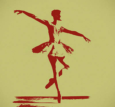 Mixed Media - Ballerina Silhouette Pop Art by Dan Sproul