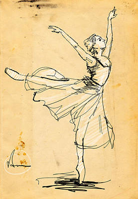 Ballet Drawing - Ballerina Study by H James Hoff
