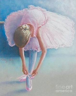 Wall Art - Painting - Ballerina Tying Her Shoe by Raul Alsina