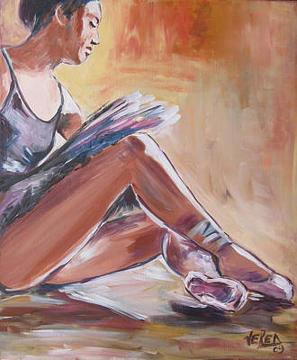 Tying Shoe Painting - Ballerina Tying Shoes by Vered Thalmeier