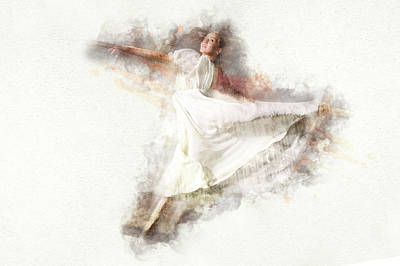 Photograph - Ballerina Watercolor  Painting  by Gutescu Eduard
