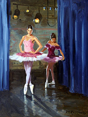 Rehearsal Painting - Ballerinas Backstage by Roelof Rossouw