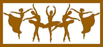 Painting - Ballerinas Dancing Silhouettes by Irina Sztukowski