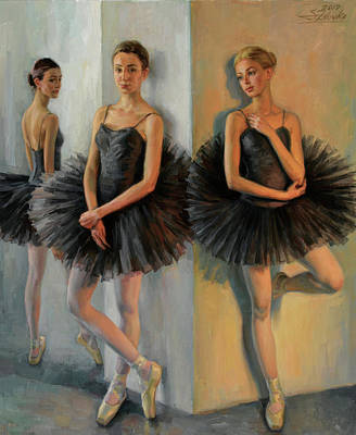 Painting - Ballerinas In Black Tutu by Serguei Zlenko