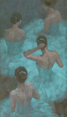 Painting - Ballerinas In Blue by Steve Mitchell