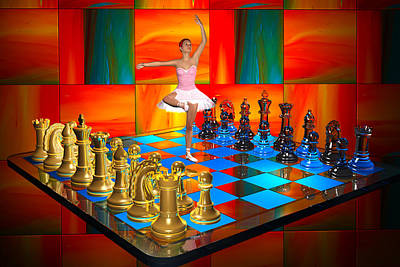 Digital Art - Ballerina Chess Set  by Carlos Diaz
