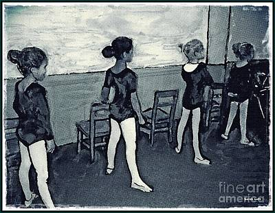 Colored Pencil Mixed Media - Ballet Class Monochrome by Sarah Loft