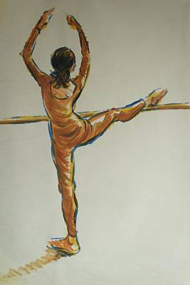 Drawing - Ballet Dancer At The Bar by Mike Jory