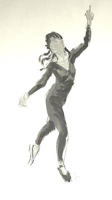 Drawing - Ballet Dancer In Black Leotard by Mike Jory