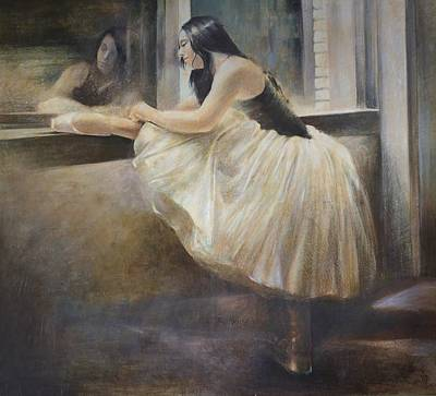 Painting - Reflexion.ballet Dancer In White Tutu Painting Dance Art by Vali Irina Ciobanu