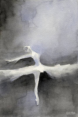 Great White Shark Painting - Ballet Dancer In White Tutu Watercolor Paintings Of Dance by Beverly Brown Prints