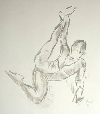 Painting - Ballet Dancer Lying On Floor And Stretching Leg By Grabbing Ankle by Mike Jory