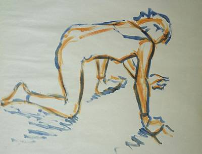 Painting - Ballet Dancer On All Fours With One Knee Raised by Mike Jory