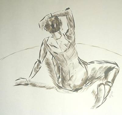 Painting - Ballet Dancer Brush Drawing by Mike Jory