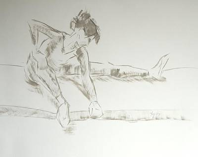 Drawing - Ballet Dancer Seated Stretching Leg by Mike Jory