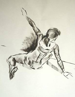 Drawing - Ballet Dancer Sitting On Floor With Weight On Her Right Arm by Mike Jory