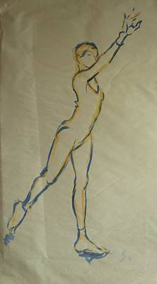 Drawing - Ballet Dancer Stretchin Upwards While Standing by Mike Jory