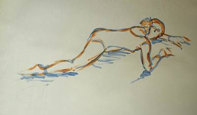 Drawing - Ballet Dancer Stretching Face Down On Floor by Mike Jory