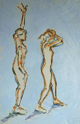 Drawing - Ballet Dancer Stretching One Arm Up And Then A Moment Later Placing Both Hands On Head by Mike Jory