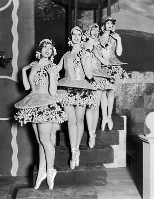 Ballet Dancers On Steps Print by Underwood Archives