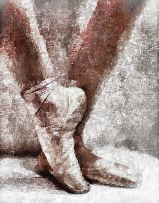 Mixed Media - Ballet En Pointe Shoes Grunge by Georgiana Romanovna