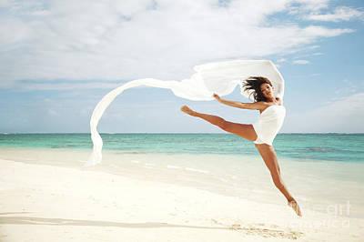Ballet On Beach Art Print