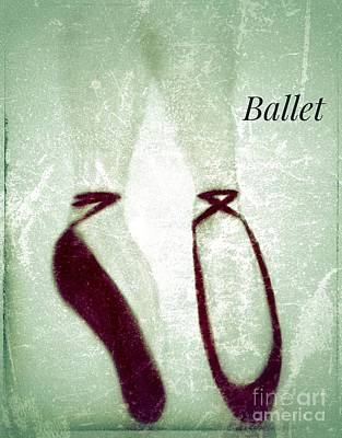 Photograph - Ballet Shoes Illustration Textured by Susan Garren